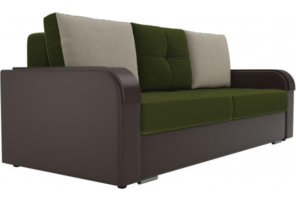Прямой диван Мейсон зеленый/коричневый (Микровельвет/Экокожа) - фото 4