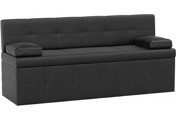 Кухонный прямой диван Лео Черный (Экокожа) - фото 1
