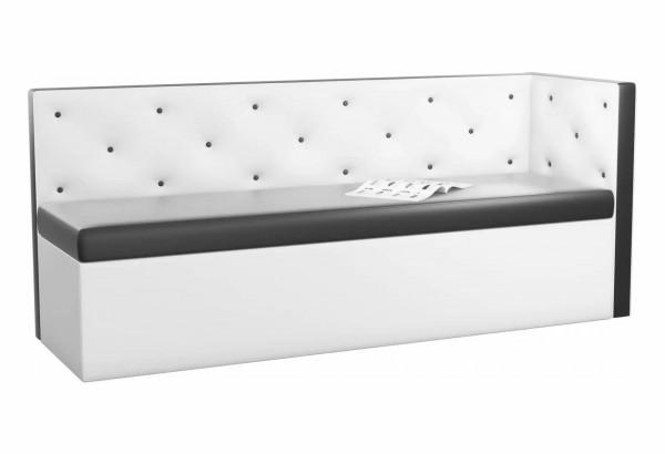 Кухонный диван Салвадор с углом Черный/Белый (Экокожа) - фото 1