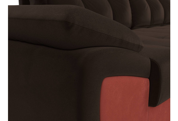 Угловой диван Нэстор прайм Коричневый/Коралловый (Микровельвет) - фото 4