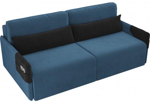 Прямой диван Армада голубой/черный (Велюр) - фото 4