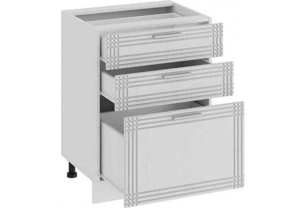 Шкаф напольный с тремя ящиками «Ольга» (Белый/Белый) - фото 2