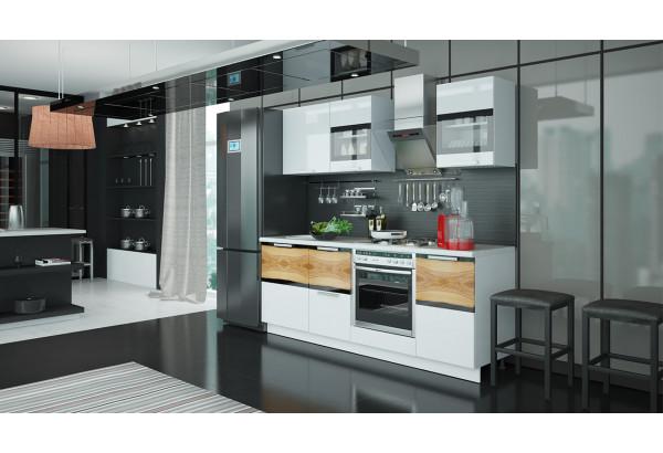 Кухонный гарнитур длиной - 210 см (со шкафом НБ) Фэнтези (Белый универс)/(Вуд) - фото 2