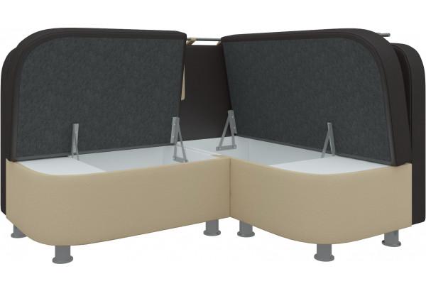Кухонный угловой диван Уют 2 Коричневый/Бежевый (Экокожа) - фото 3