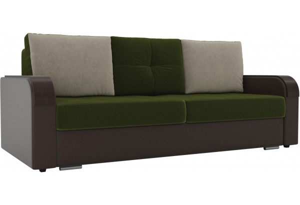 Прямой диван Мейсон зеленый/коричневый (Микровельвет/Экокожа) - фото 1