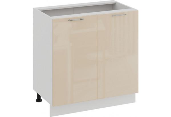 Шкаф напольный с двумя дверями «Весна» (Белый/Ваниль глянец) - фото 1