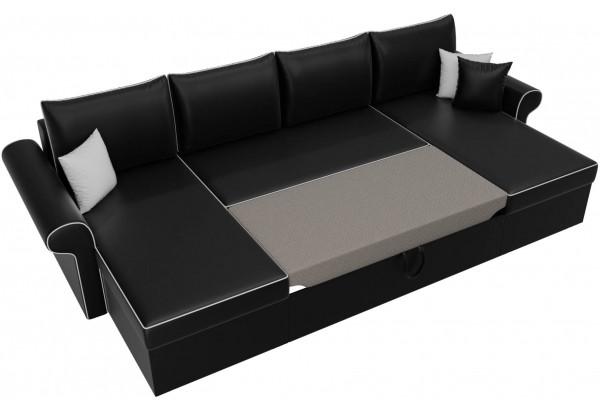 П-образный диван Милфорд Черный (Экокожа) - фото 6