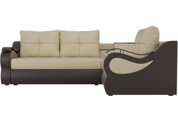 Угловой диван Митчелл бежевый/коричневый (Экокожа) - фото 2