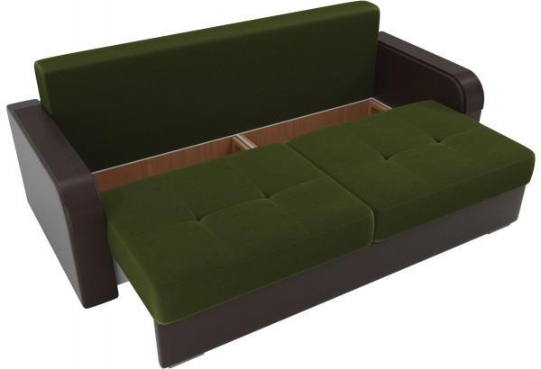 Прямой диван Мейсон зеленый/коричневый (Микровельвет/Экокожа/флок на рогожке) - фото 5