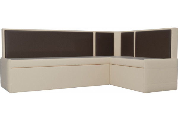 Кухонный угловой диван Кристина бежевый/коричневый (Экокожа) - фото 1