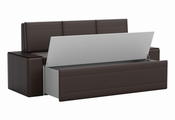 Кухонный прямой диван Лина Коричневый (Экокожа) - фото 2