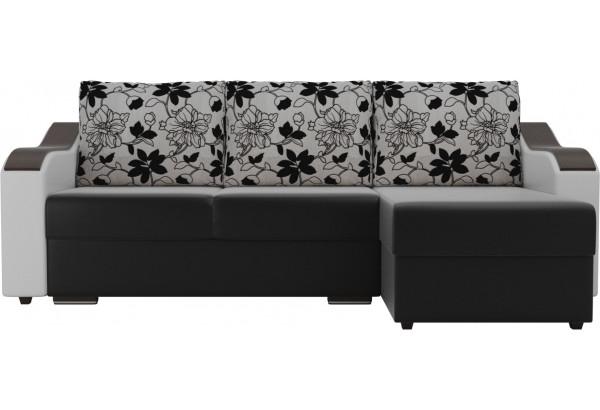 Угловой диван Монако Черный/Белый/Цветы (Экокожа/рогожка) - фото 2
