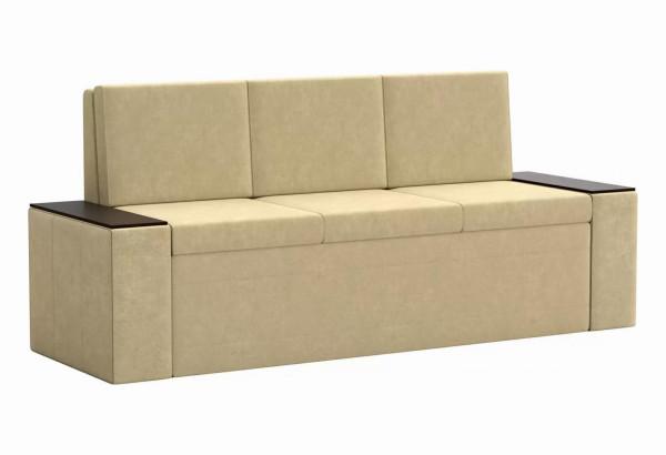Кухонный прямой диван Лина Бежевый (Микровельвет) - фото 1