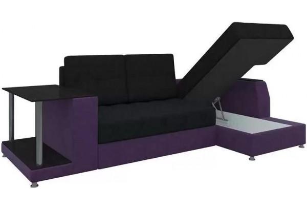 Угловой диван Атланта черный/фиолетовый (Микровельвет) - фото 3