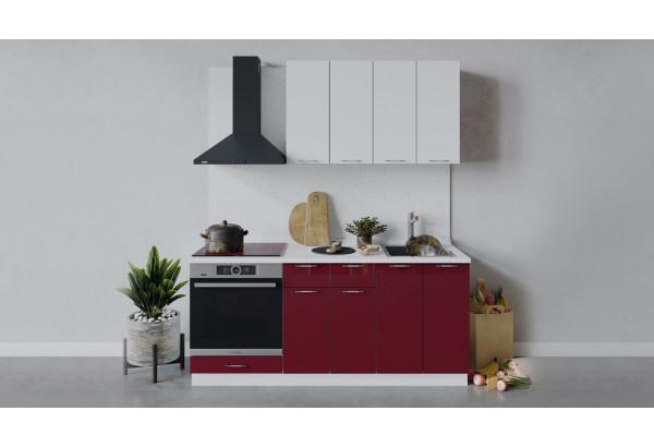 Кухонный гарнитур «Весна» длиной 180 см со шкафом НБ (Белый/Белый глянец/Бордо глянец) - фото 1