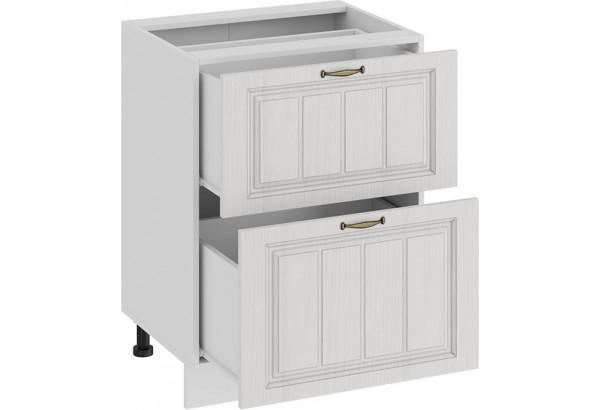 Шкаф напольный с двумя ящиками «Лина» (Белый/Белый) - фото 2