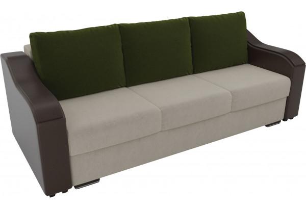 Прямой диван Монако бежевый/коричневый (Микровельвет/Экокожа) - фото 4
