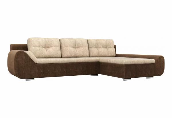 Угловой диван Анталина бежевый/коричневый (Велюр) - фото 1