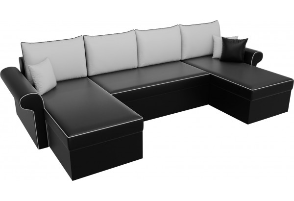 П-образный диван Милфорд Черный/Белый (Экокожа) - фото 4