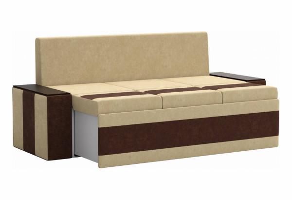 Кухонный прямой диван Лина бежевый/коричневый (Микровельвет) - фото 3