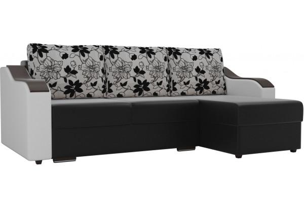 Угловой диван Монако Черный/Белый/Цветы (Экокожа/рогожка) - фото 1