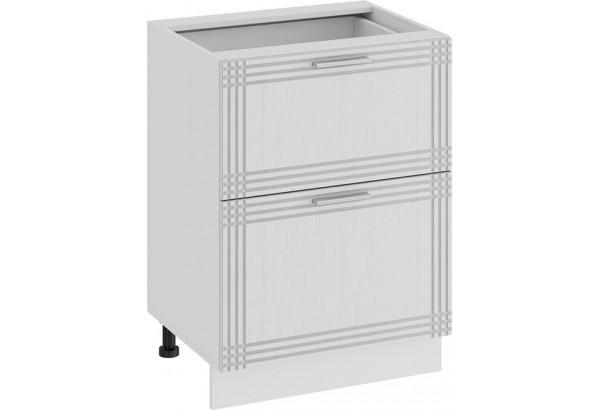 Шкаф напольный с двумя ящиками «Ольга» (Белый/Белый) - фото 1