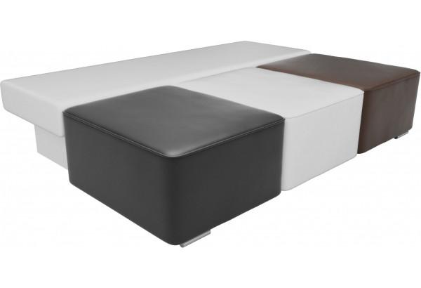 Диван прямой Радуга Черный/белый/коричневый (Экокожа) - фото 5