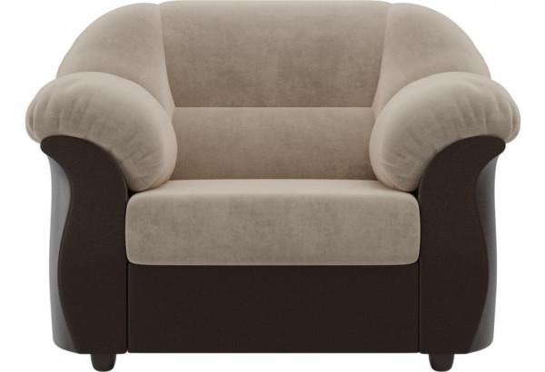 Кресло Карнелла бежевый/коричневый (Велюр/Экокожа) - фото 2