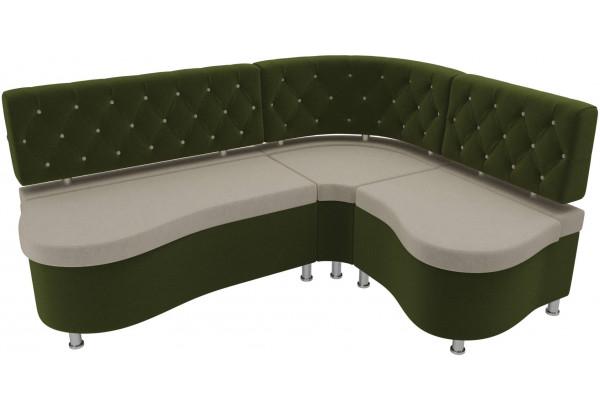 Кухонный угловой диван Вегас бежевый/зеленый (Микровельвет) - фото 4