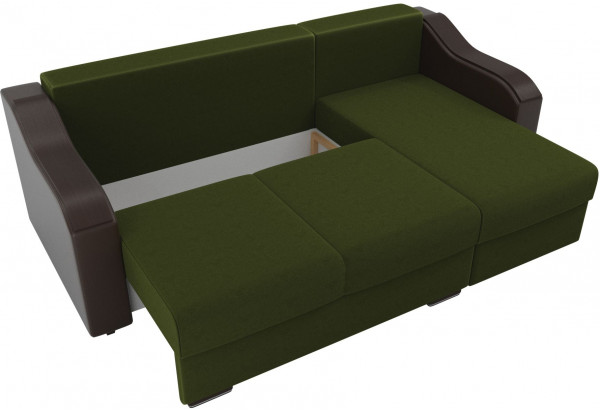 Угловой диван Монако Зеленый/Коричневый/Цветы (Микровельвет/экокожа/рогожка) - фото 6