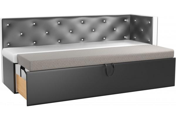 Кухонный диван Салвадор с углом Белый/Черный (Экокожа) - фото 2