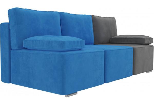 Диван прямой Радуга Голубой/Голубой/Серый (Велюр) - фото 3