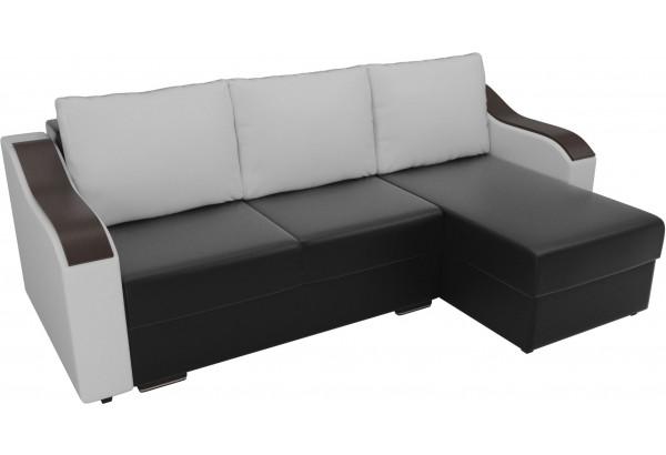 Угловой диван Монако Черный/Белый/Белый (Экокожа) - фото 4