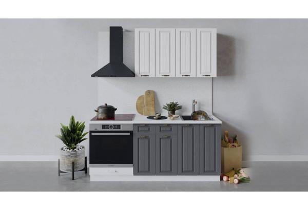 Кухонный гарнитур «Лина» длиной 180 см со шкафом НБ (Белый/Белый/Графит) - фото 1