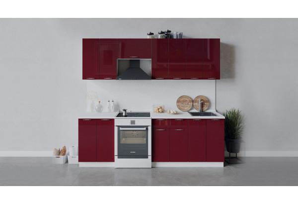 Кухонный гарнитур «Весна» длиной 240 см (Белый/Бордо глянец) - фото 1
