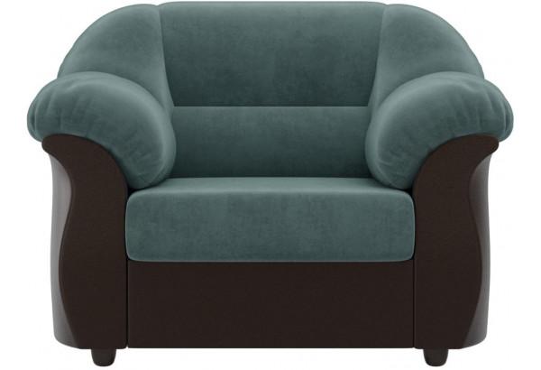 Кресло Карнелла Бирюзовый/Коричневый (Велюр/Экокожа) - фото 2