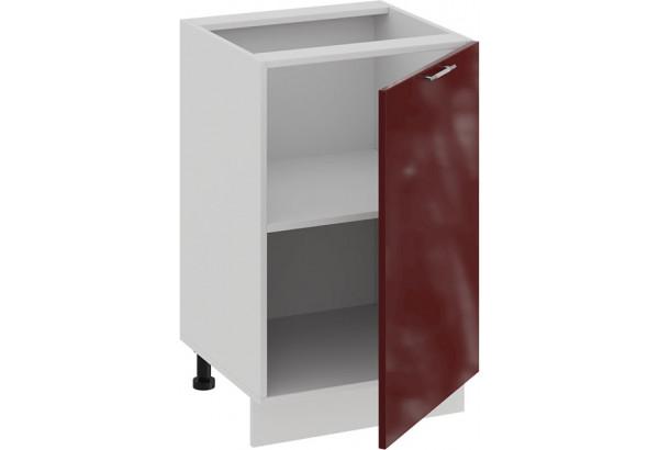 Шкаф напольный с одной дверью «Весна» (Белый/Бордо глянец) - фото 2