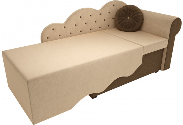 Детская кровать Тедди-1 бежевый/коричневый (Микровельвет) - фото 2