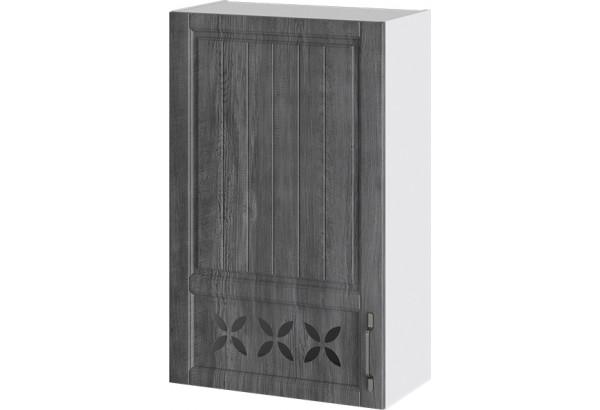 Шкаф навесной c декором (левый) (ПРОВАНС (Белый глянец/Санторини темный)) - фото 1