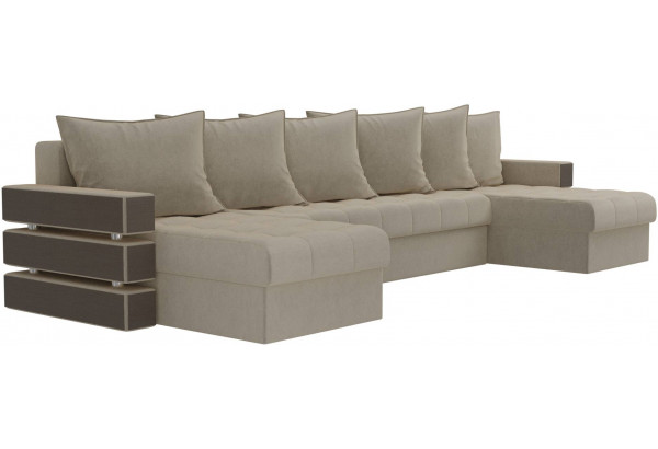 П-образный диван Венеция Бежевый (Микровельвет) - фото 3