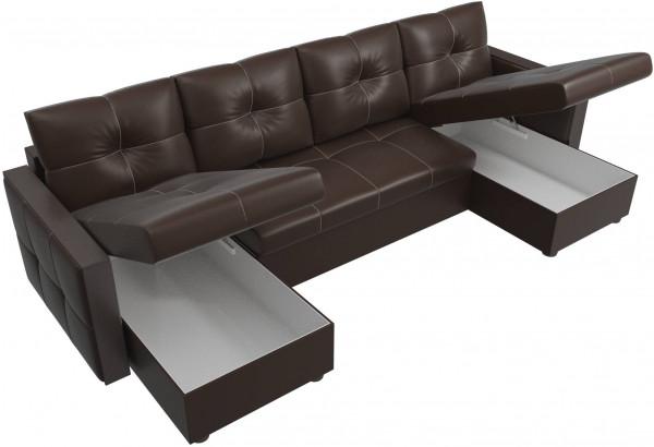 П-образный диван Валенсия Коричневый (Экокожа) - фото 5