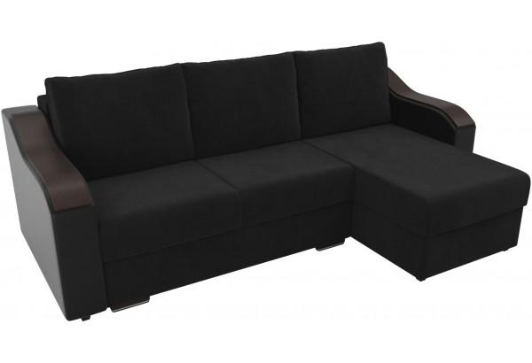 Угловой диван Монако черный/черный (Велюр/Экокожа) - фото 4