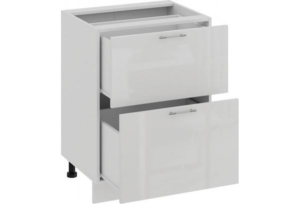 Шкаф напольный с двумя ящиками «Весна» (Белый/Белый глянец) - фото 2
