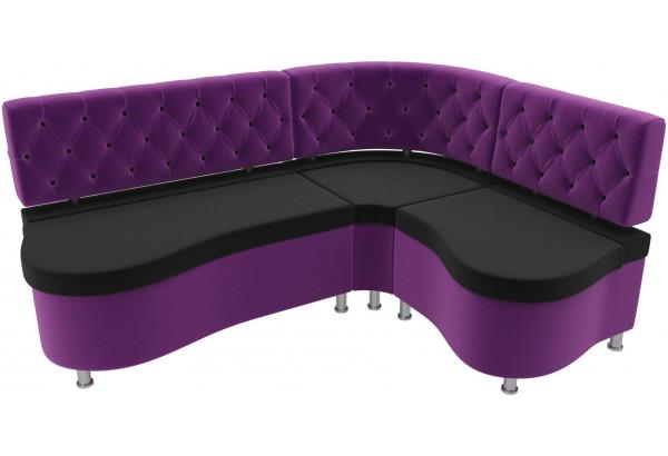 Кухонный угловой диван Вегас черный/фиолетовый (Микровельвет) - фото 4