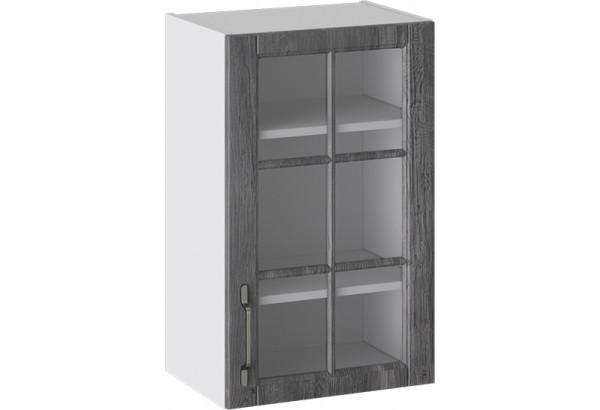 Шкаф навесной со стеклом (ПРОВАНС (Белый глянец/Санторини темный)) - фото 1