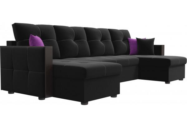 П-образный диван Валенсия Черный (Микровельвет) - фото 3