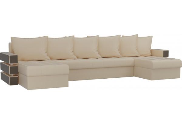 П-образный диван Венеция Бежевый (Экокожа) - фото 1