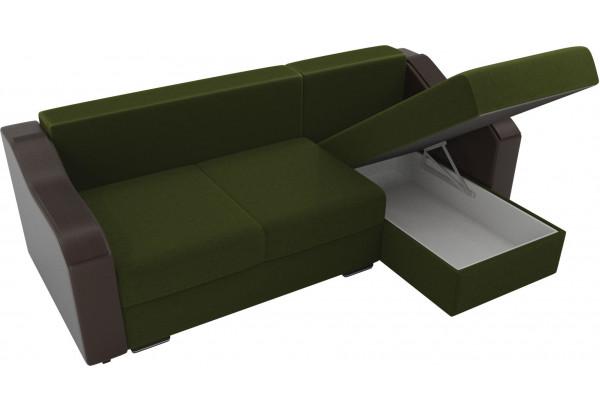 Угловой диван Монако Зеленый/Коричневый/Цветы (Микровельвет/экокожа/рогожка) - фото 5