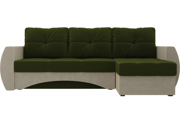 Угловой диван Сатурн Зеленый/Бежевый (Микровельвет) - фото 2