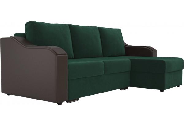 Угловой диван Монако зеленый/коричневый (Велюр/Экокожа) - фото 3